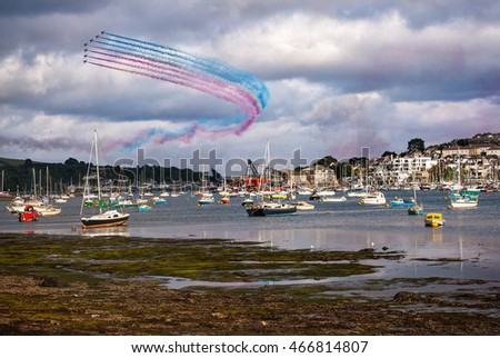 The annual Red Arrows display in Falmouth during Falweek (Falmouth Week) in Cornwall. photographed on 10 August 2016.