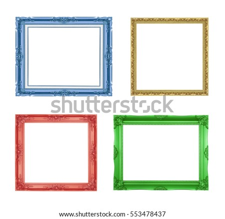 The antique colorful frame on the white background