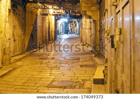 THE ARAB QUARTER, THE OLD TOWN, JERUSALEM, ISRAEL, DECEMBER 26, 2013. An alley in the night in the Arab Quarter of Jerusalem's old town, in Jerusalem, Israel, on December 26th, 2013.