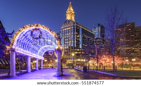 The architecture of Boston in Massachusetts, USA with its historic buildings and modern skyscrapers during the Christmas time.