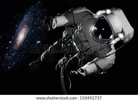 "The astronaut  in outer space""Elements of this image furnished by NASA"""