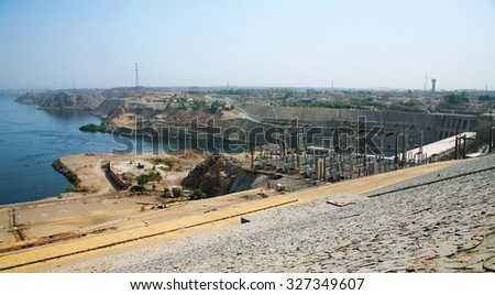 the Aswan Dam with hydroelectric power plant in Aswan, Egypt