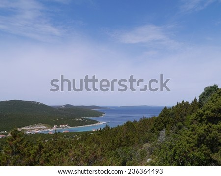 The bay of the village Ist on the island Ist in the Adriatic sea of Croatia