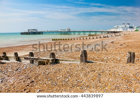The beach and pier at Worthing West Sussex England UK Europe