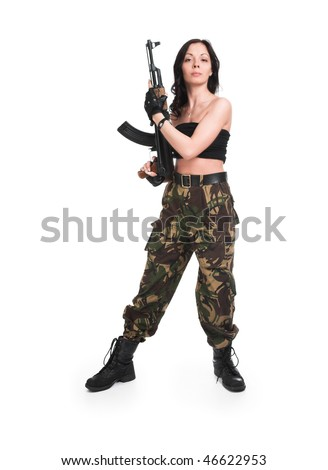 The Beautiful Girl With A Rifle On White Background