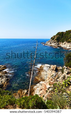 The beautiful rocky coast of the Mediterranean Sea in Spain