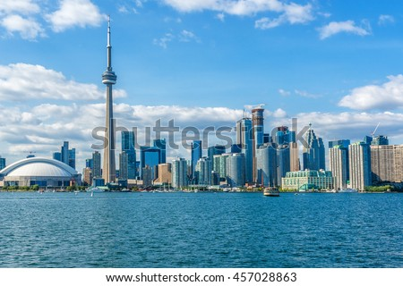 The beautiful Toronto's skyline over Lake Ontario. Urban architecture. Ontario, Canada.