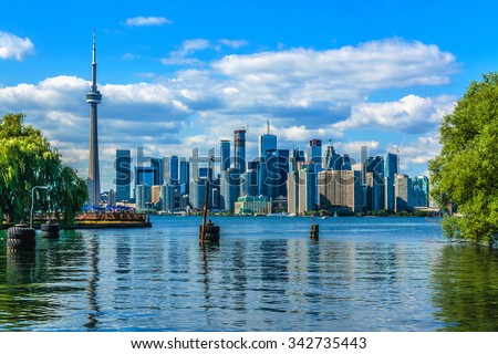 The beautiful Toronto's skyline over lake. Toronto, Ontario, Canada.