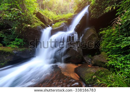 The beautiful waterfall in deep forest during rainy season at Phu Hin Rong Kla National Park, Thailand