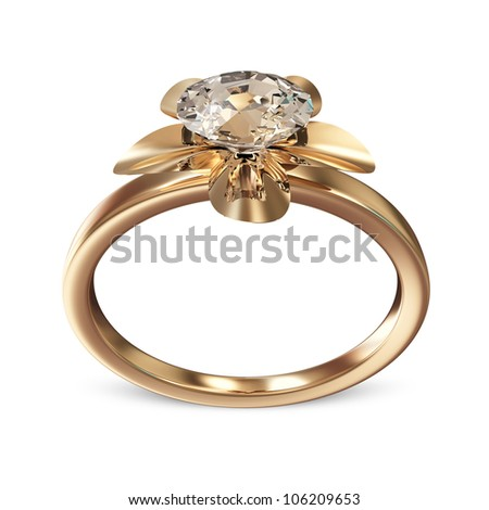 The Beauty Golden Wedding Ring with Diamond on white background