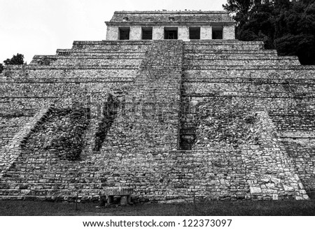 The big pyramid in Palenque - Mexico (black and white)