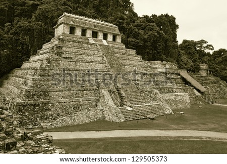 The big pyramid in the Palenque, Mexico, Latin America (stylized retro)