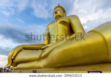 The Biggest Buddha statue at Wat Muang Ang thong temple in Thailand
