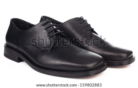 The black man's shoes  on white background.