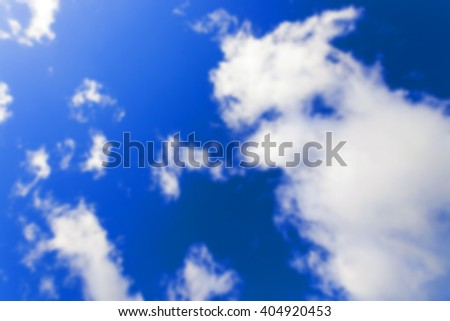 the blue sky with clouds , Defocus