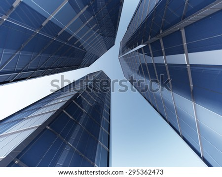 The bottom view skyscapers 3d rendering image