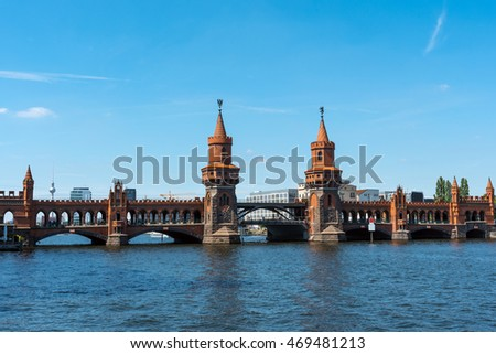 The bridge Oberbaumbruecke in Berlin with the Television Tower in the back, Germany