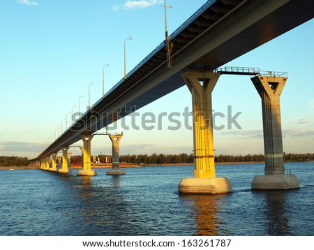 The bridge over the river volga view from below russia stock photo
