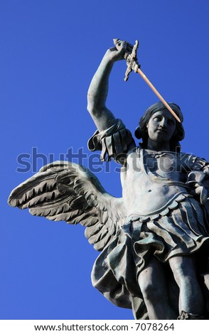 The bronze statue of archangel Michael by von Verschaffelt, 1753, Castel Sant'Angelo, Rome