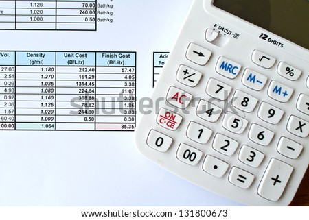 The calculator with data document