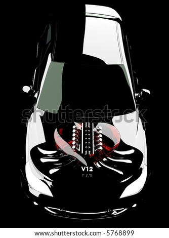 The car engine in a heart symbol 3d black background
