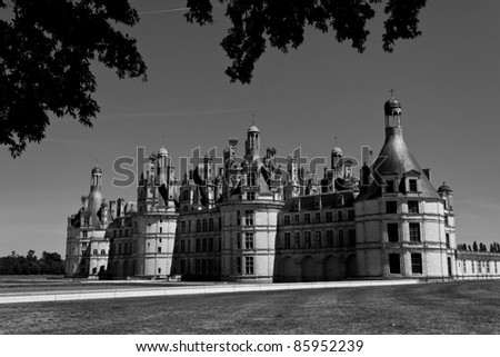 The Castle of Chambord in the Loire Valley (Black and white)