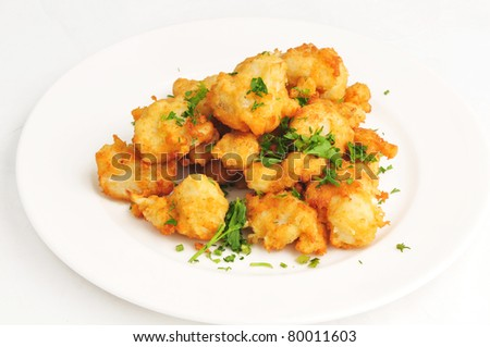 The cauliflower fried in hot fan