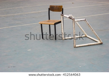 The chair and football goal