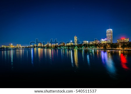 The Charles River at night, from the Harvard Bridge, in Cambridge, Massachusetts.