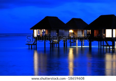 The Charming Night of Water Villa