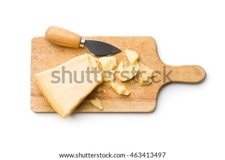 The chopped parmesan cheese isolated on white background.