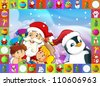 The christmas frame with lot of elements - patchwork - illustration for the children 35 - stock photo