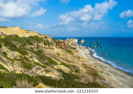 The coast of Paphos with the Aphrodite's Rock, the legendary place of her birth is very popular tourist destination, Cyprus.