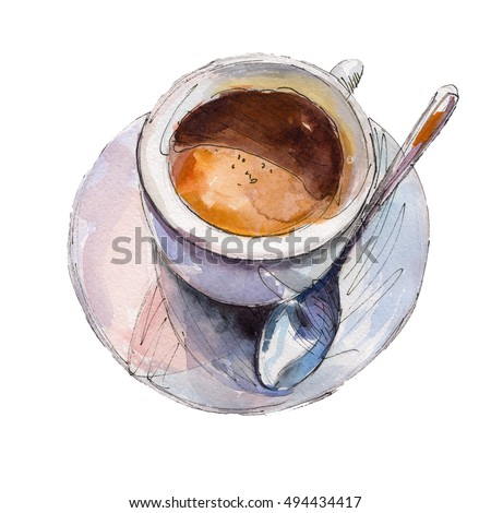 Husky dog cup coffee watercolor illustration stock for Coffee watercolor
