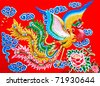 The Colorful of phoenix on wall of  joss house - stock photo