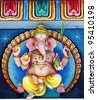The colorful statue of the Elephant faced Hindu god known as Lord Ganesha on an ornate altar. - stock photo