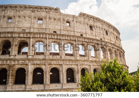 The Colosseum or Coliseum, also known as the Flavian Amphitheatre in Rome, Italy