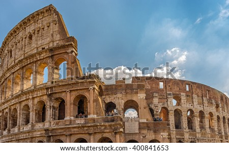 The Colosseum or Flavian Amphitheatre - monument of architecture of ancient Rome, one of the most grandiose buildings of the ancient world that have survived to our time. Rome. Italy.