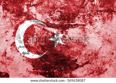 The concept of national flag on old rusty grunge background: Turkey