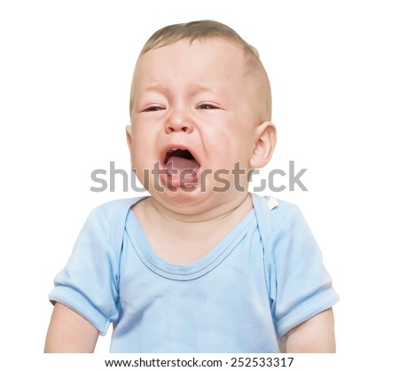 The crying boy, on  white background