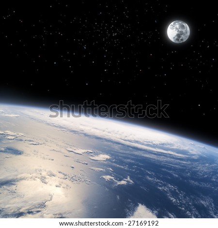 The curved horizon of Earth from space - landscape exterior