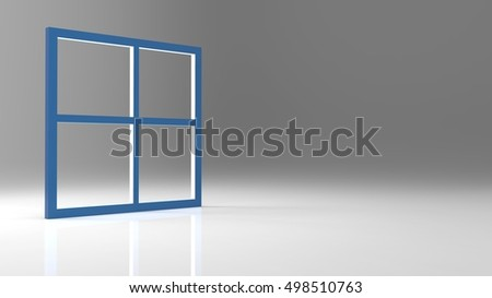 The 3d rendering abstract blank window frame with nice background color