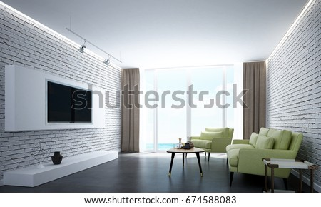 The 3d Rendering Interiors Design Of Modern Lounge And Green Sofa Living  Room And White Brick Part 70