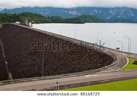 The dam wall with road on top