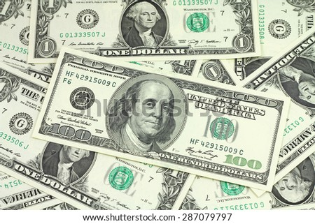 The denomination of one hundred dollars for background one dollar background