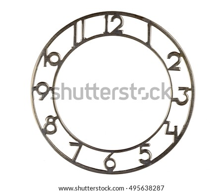 The dial of the clock on white isolated