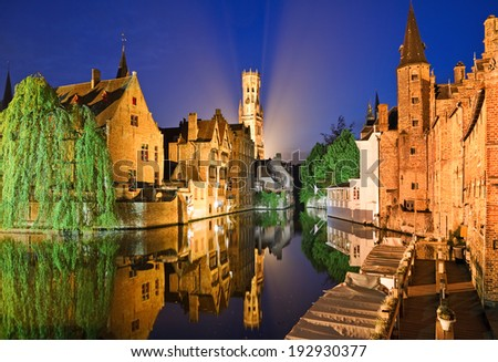 The dock of the Rosary (Rozenhoedkaai) at night, Bruges, Belgium.
