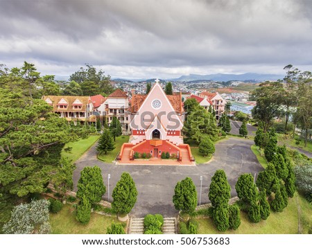 The Domaine de Marie Church, also called Mai Anh Church or Cherry Church, is home to the Roman Catholic nuns of the Mission of Charity located in Dalat City,