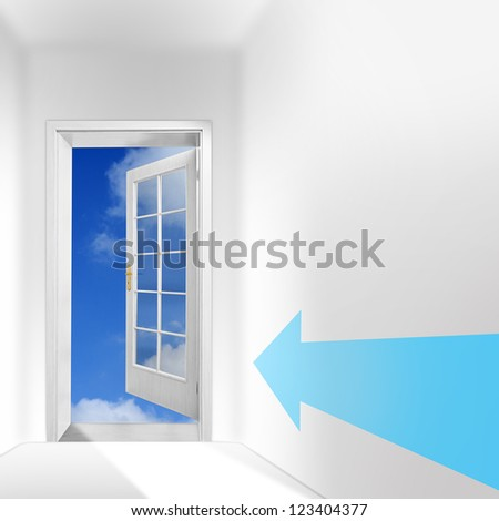 The door to heaven. New way with hope concept. Picture with space for your text.
