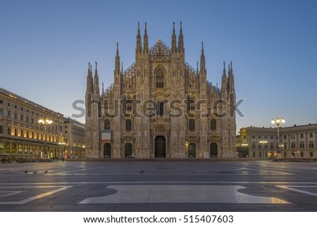 The Duomo of Milan Cathedral in Milan, Italy.